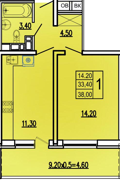 1-комнатная 38 м2, вариант 2