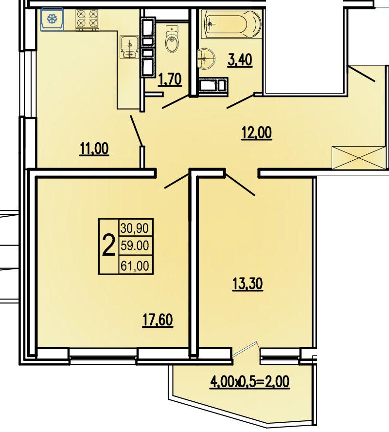 2-комнатная 61 м2