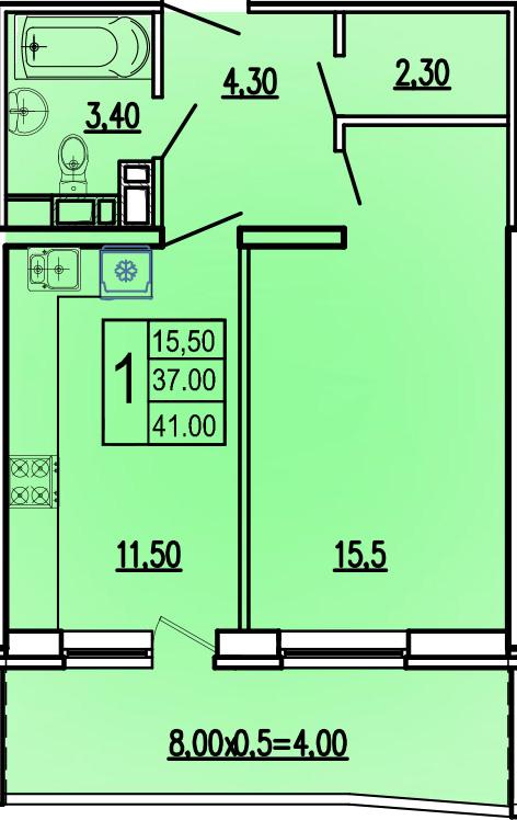 1-комнатная 41 м2