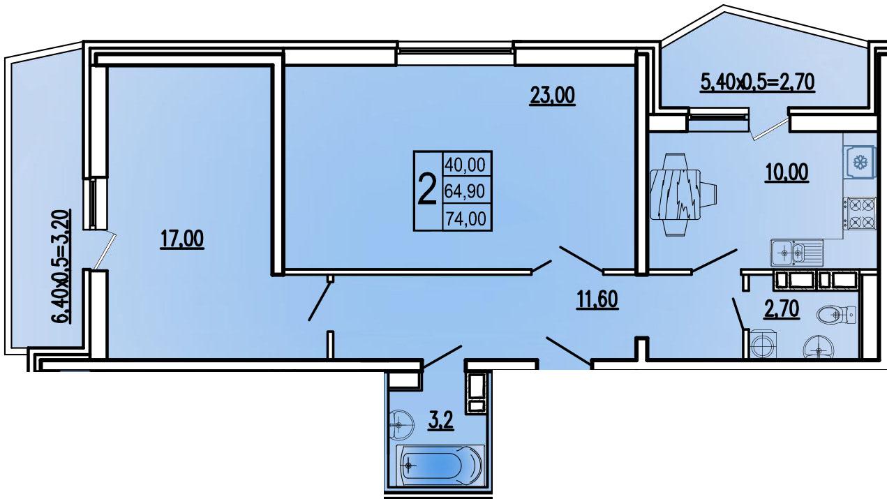2-комнатная 74 м2